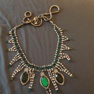 J crew emerald and diamonds flux necklace
